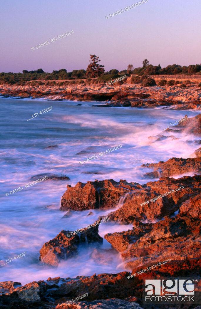 Stock Photo: Rocky coast, Sierra de Irta natural preserve. Castellón province, Comunidad Valenciana, Spain.