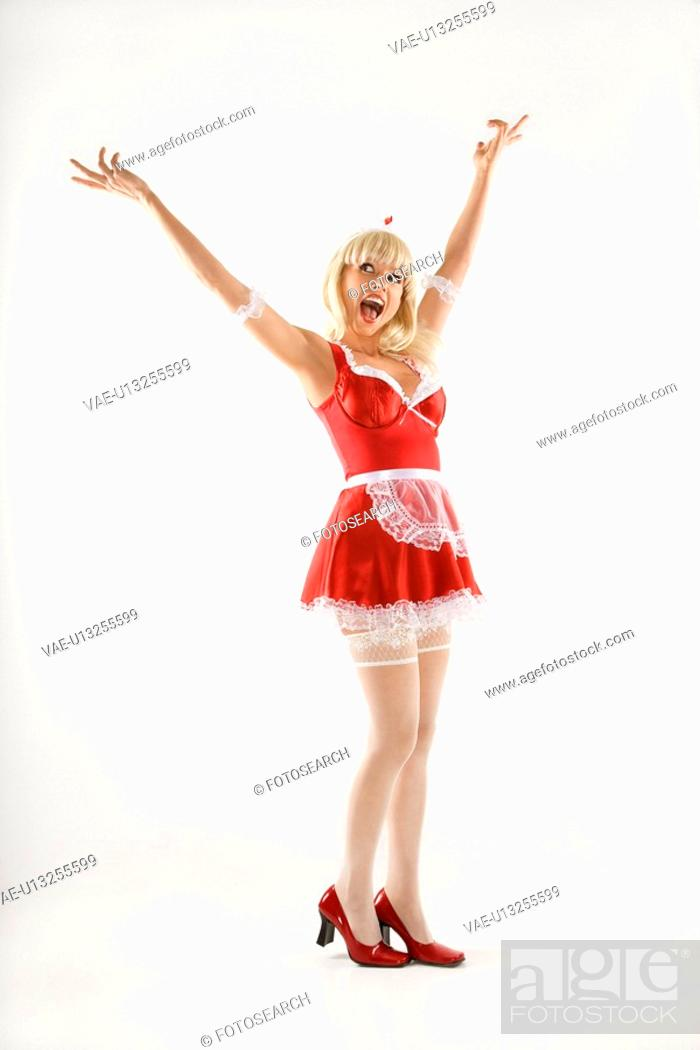 Stock Photo: Blonde Caucasian young woman in french maid oufit.