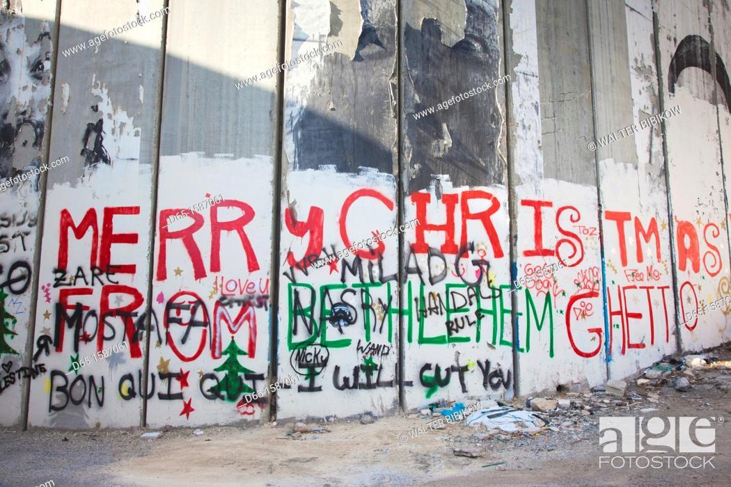 Stock Photo: Israel, West Bank, Bethlehem, Israeli-built West Bank Wall surrounding Bethlehem.