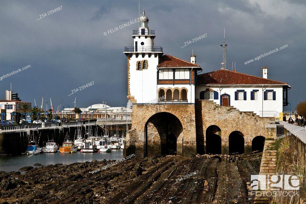 Stock Photo: Light House at Getxo Harbor Bizkaia, Basque Country, Spain.