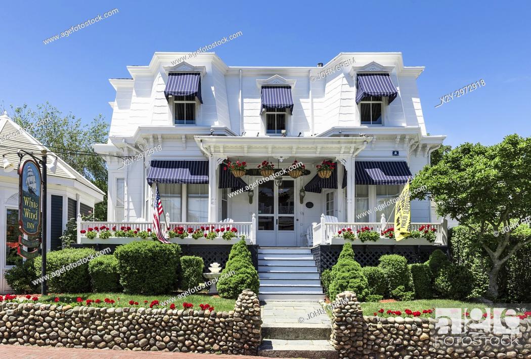 Stock Photo: White Wind Inn on Commercial Street, Provincetown, Cape Cod, Massachusetts, USA.
