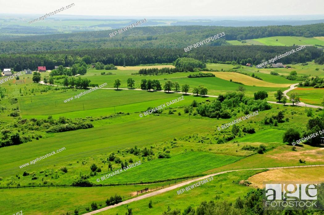 Stock Photo: View from the castle tower in Chentshin, Swietokrzyskie Voivodeship, Poland. The city was first mentioned in historical documents from 1275.