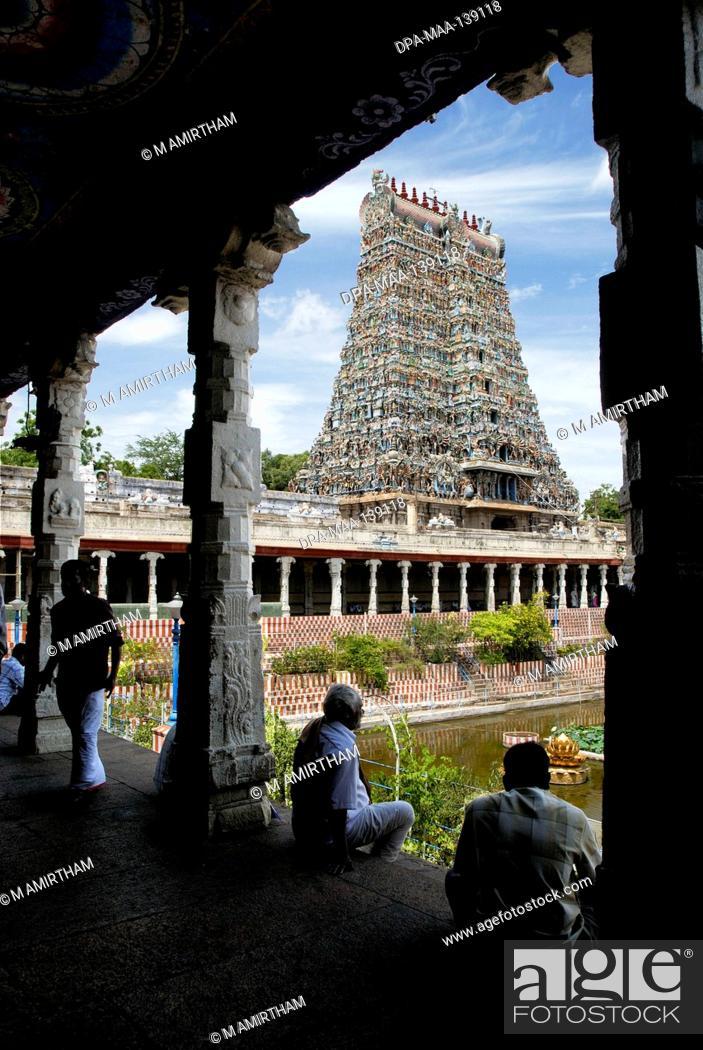 Stock Photo: Sri Meenakshi Amman temple ; Madurai ; Tamil Nadu ; India.