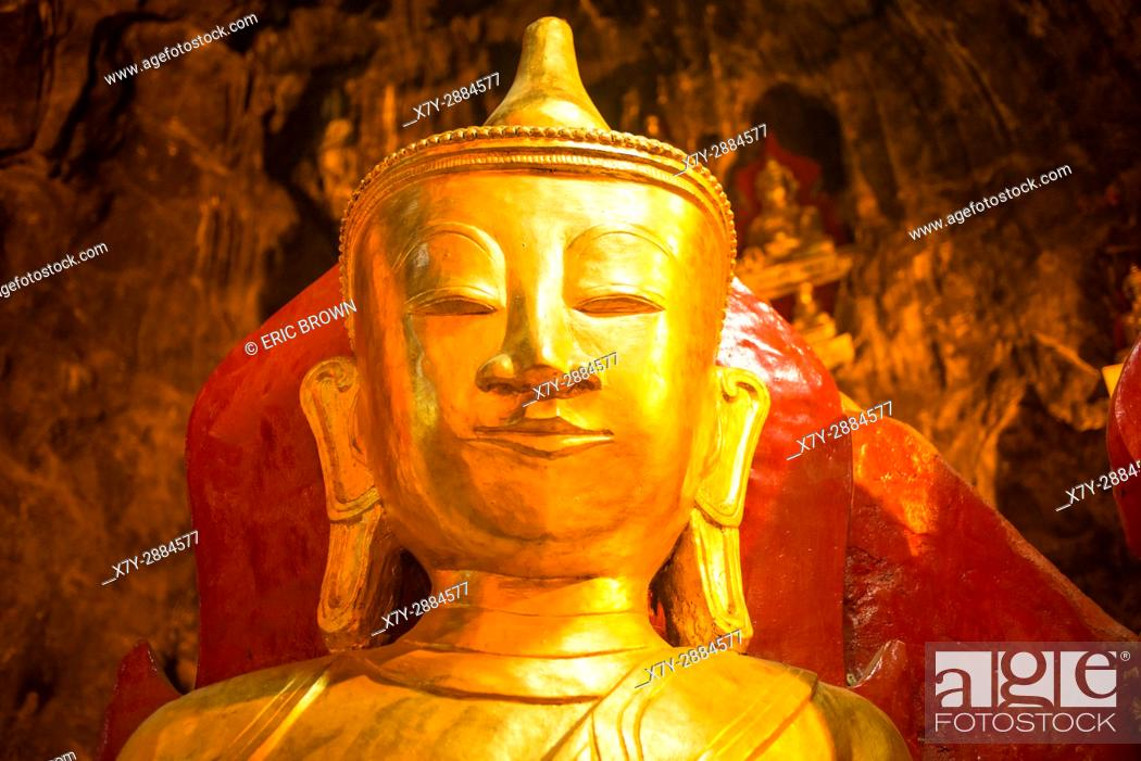 Stock Photo: A statue of Buddha in Pindaya Cave, Myanmar.
