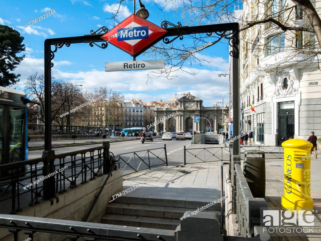 Stock Photo: Retiro subway station and Puerta de Alcalá in background. Madrid, Spain.
