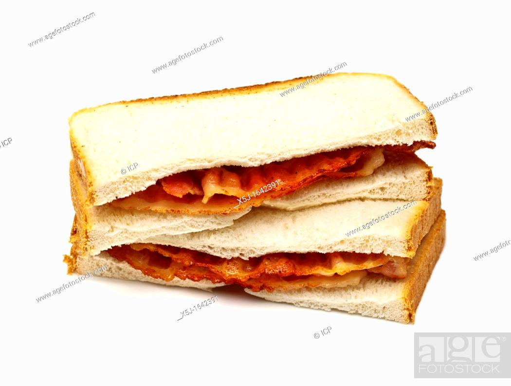 Stock Photo: Bacon sandwich on white background.