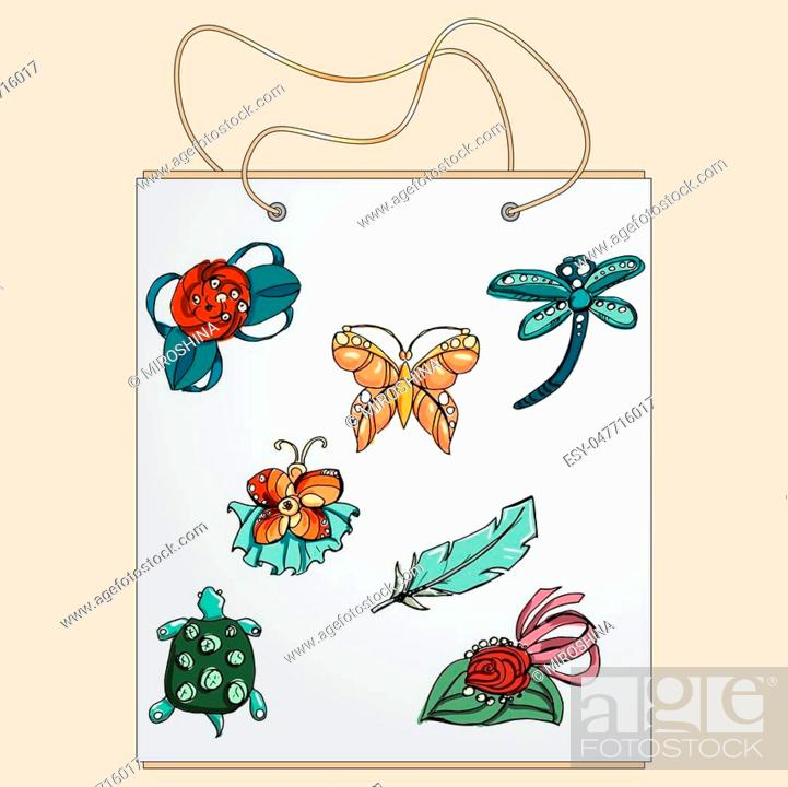 Stock Vector: Shopping bag, gift bag with the image of fashionable things.Fashion set brooches. Illustration in hand drawing style.