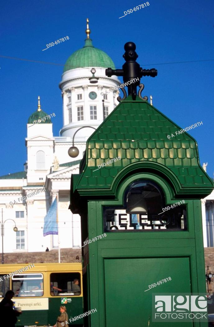 Stock Photo: HELSINKI FINLAND Telephone booth in front of Helsinki Cathedral built in 1821-1852.