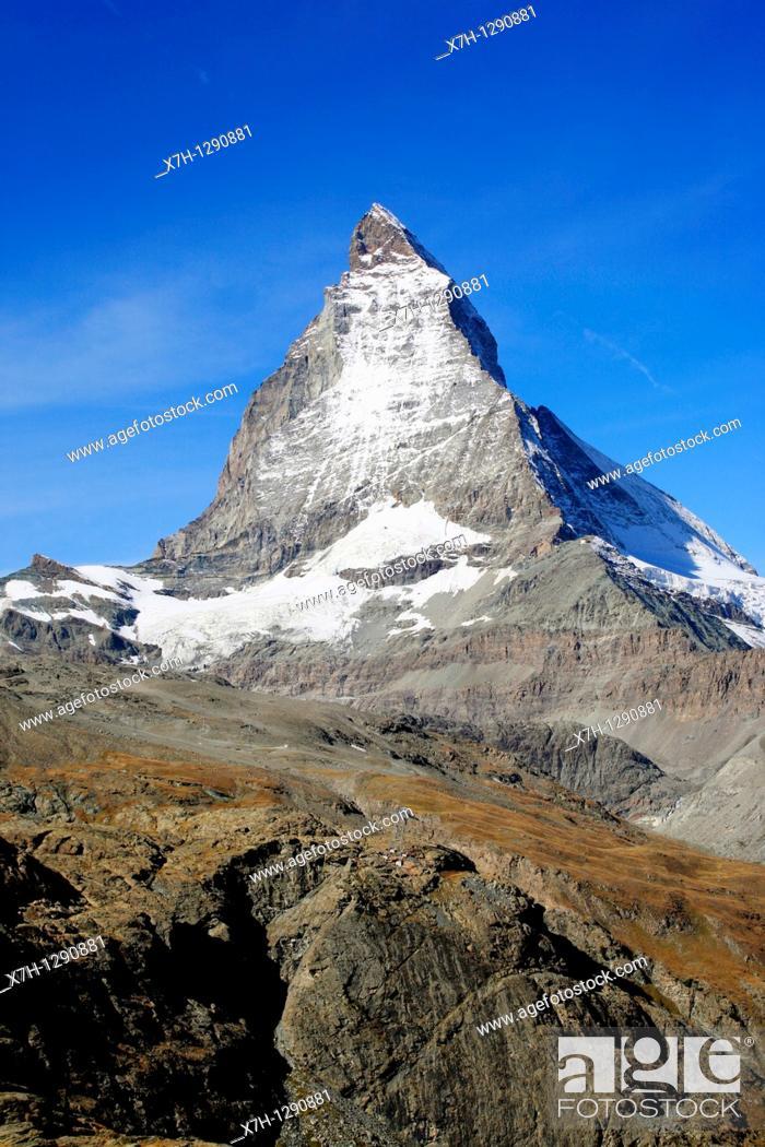 Stock Photo: Matterhorn mountain viewed from Zermatt, Switzerland.