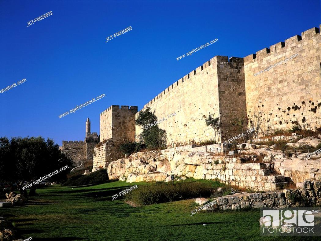 Stock Photo: Israel, Jerusalem, citadel and David Tower.