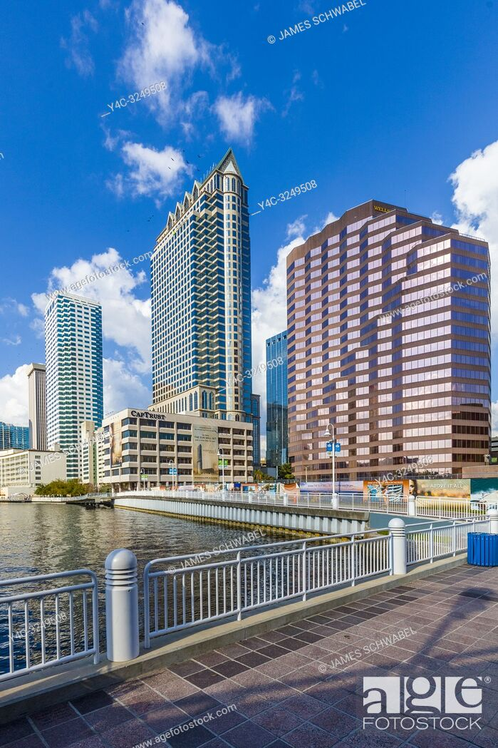 Stock Photo: Tampa Riverwalk a pedestrian trail along the Hillsborough River in downtown Tampa, Florida.