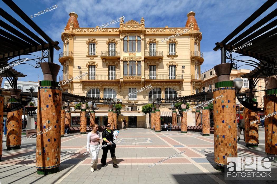 Stock Photo: La Reconquista Department Store Building 1915 and Menendez Square or Plaza Melilla Spain.