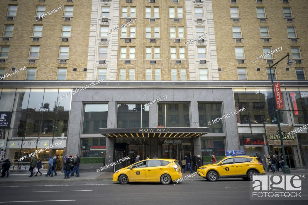 Stock Photo: The Row NYC Hotel, formerly the Milford Plaza Hotel, on Eighth Avenue off of Times Square in New York on Sunday, February 5, 2018.