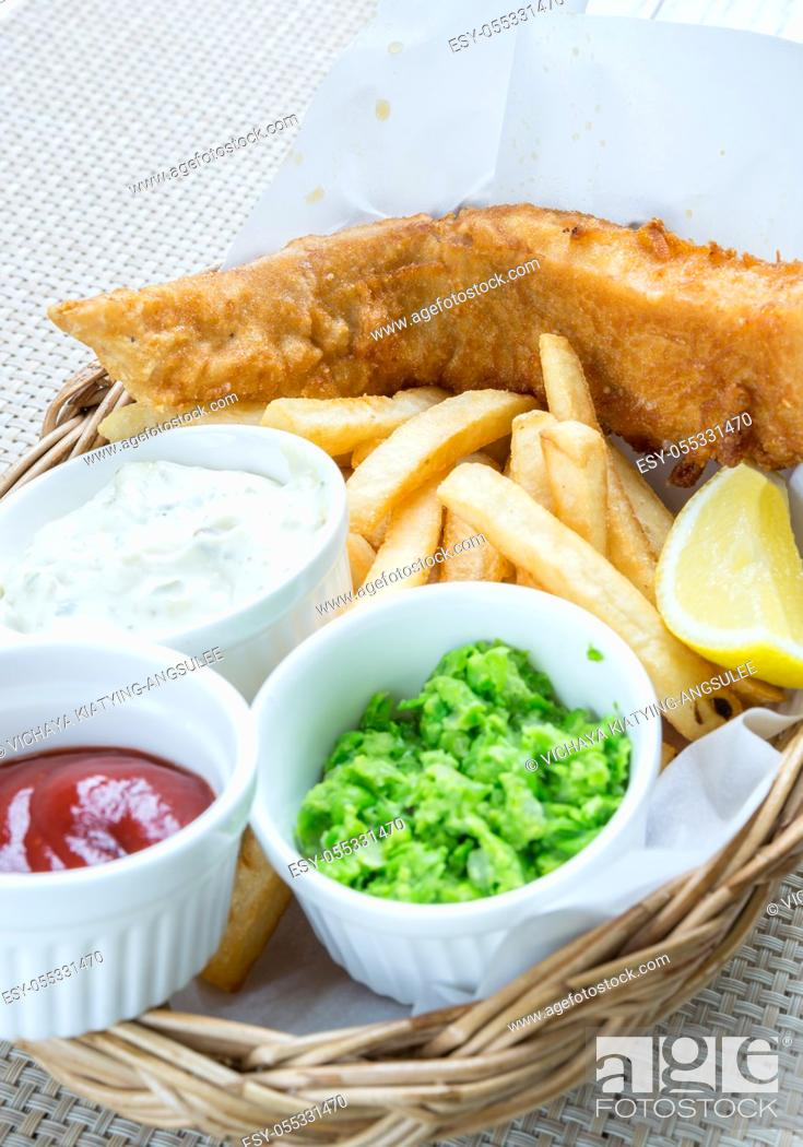 Stock Photo: Fish and Chips with assorted sauce.