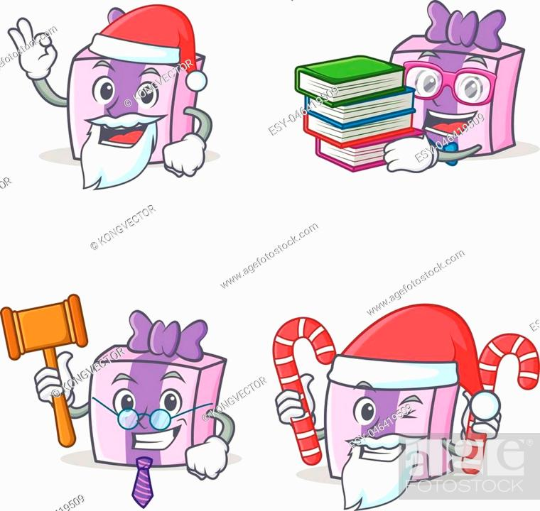 Vector: Set of gift character with Santa book judge candy vector illustration.