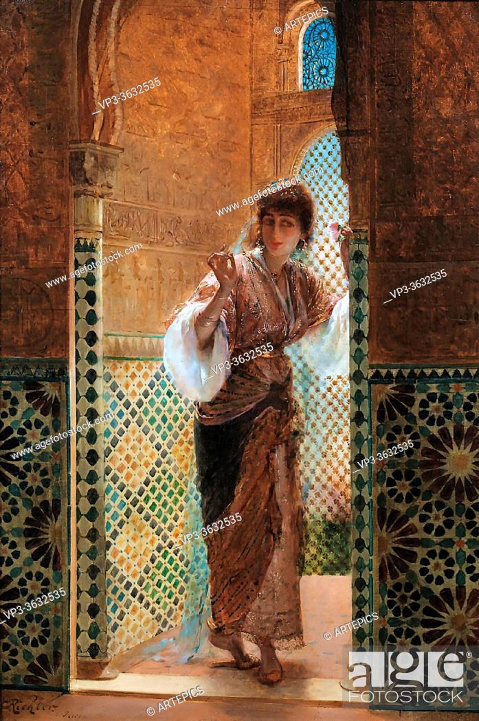 Imagen: Richter Edouard FréDéric Wilhelm - Oriental Beauty by a Window - French School - 19th and Early 20th Century.