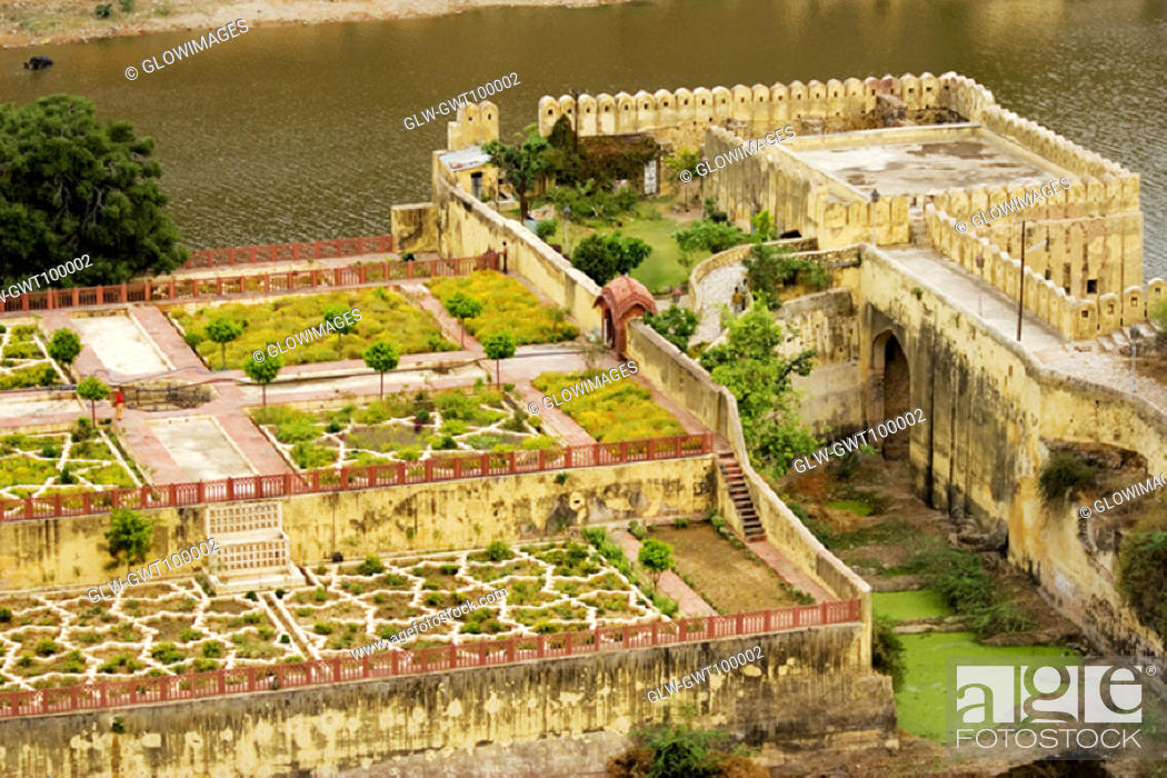 Stock Photo: High angle view of a garden, Amber Fort, Jaipur, Rajasthan, India.