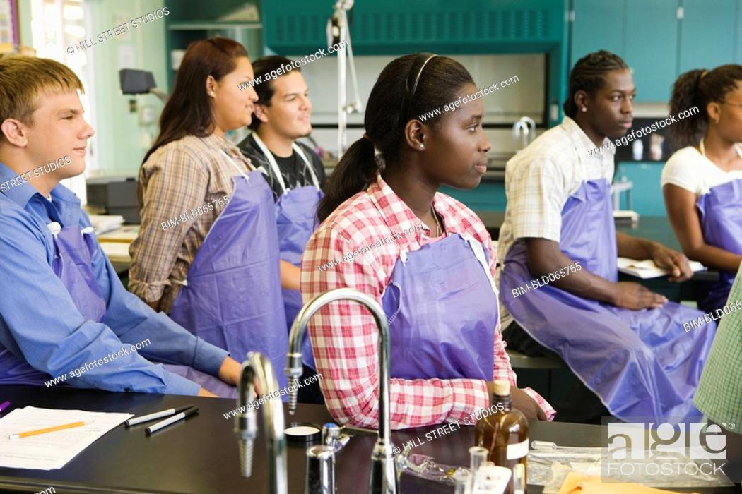 Stock Photo: Students in chemistry lab.