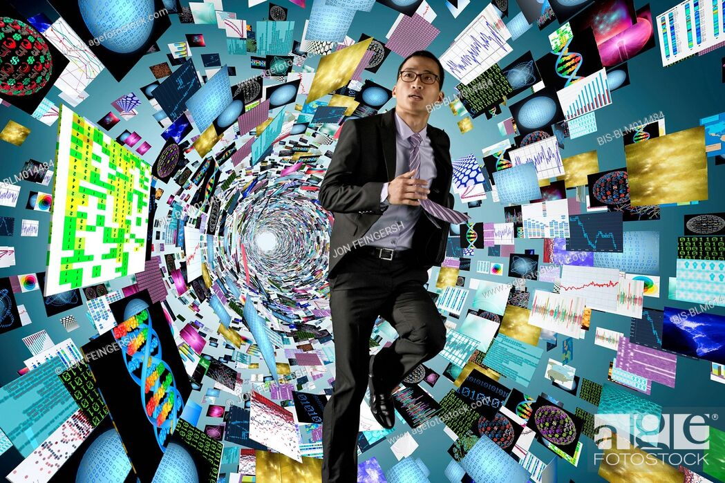 Imagen: Asian businessman surrounded by science images.