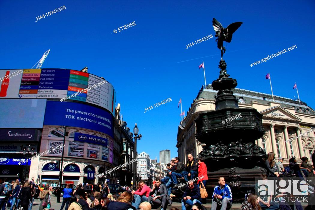 Stock Photo London England Great Britain Uk United Kingdom Piccadilly Piccadilly Circus Statue Cupid Angel Arrow Arch People Tourists