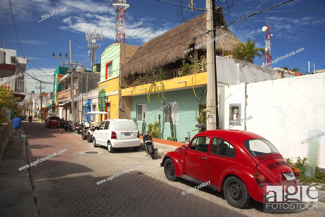 Stock Photo: Streets scene from the town center, Isla Mujeres, Cancun, Quintana Roo, Mexico, Central America.
