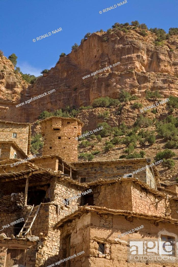 Stock Photo: Berber of the tribe Aït Alla in the Tessaout-gorge in the Central High Atlas of Morocco.