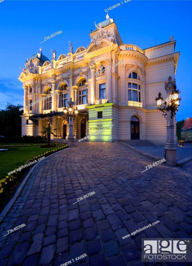 Stock Photo: Poland, Krakow, Slowacki Theatre at night.