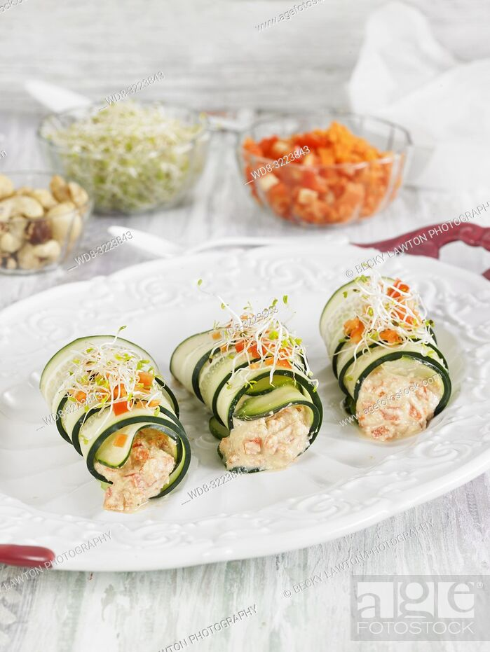Stock Photo: rollitos de calabacin rellenos de verduras / zucchini rolls stuffed with vegetables.