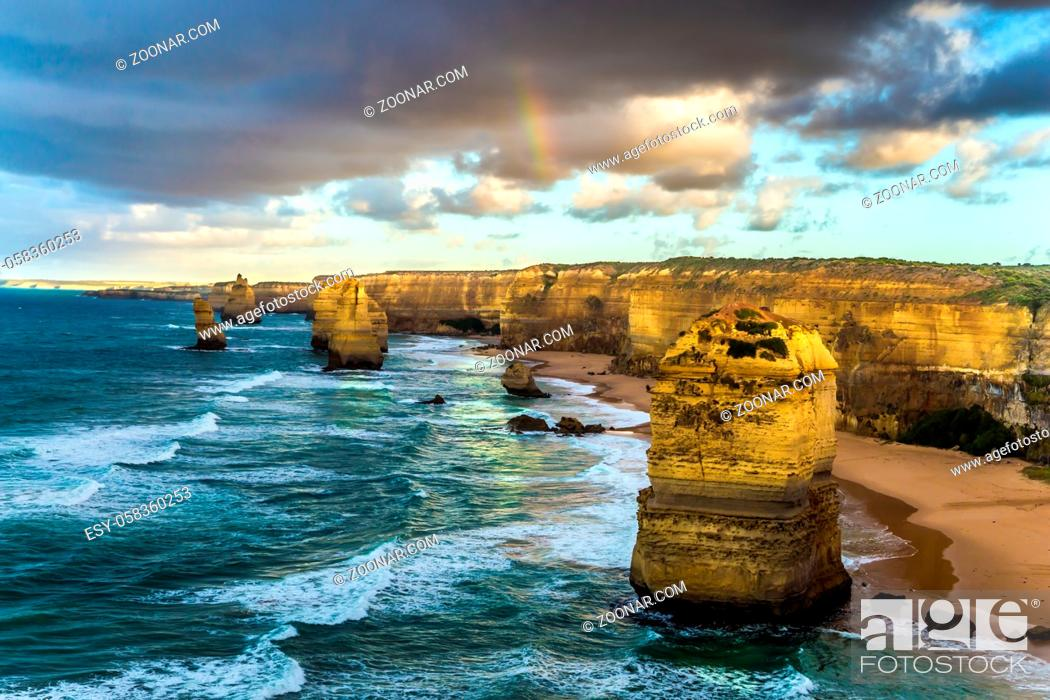 Stock Photo: The rocks Twelve Apostles in an ocean storm surf. Travel to Australia. Fantastic morning light on the Pacific coast about Melbourne.