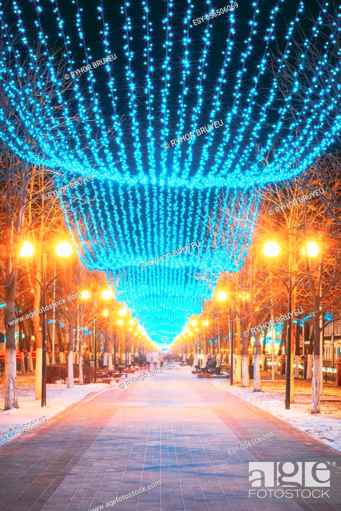 Stock Photo: Festive Illumination On Street On New Year. Holiday Decorations.