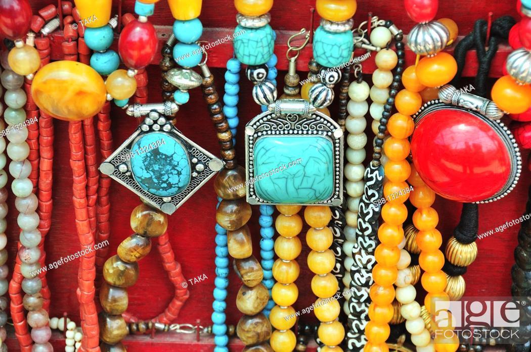 Stock Photo: Traditional Tibetan accessories for sale on the street. Mcleod ganj, Dharamshala, Himachal Pradesh, India.