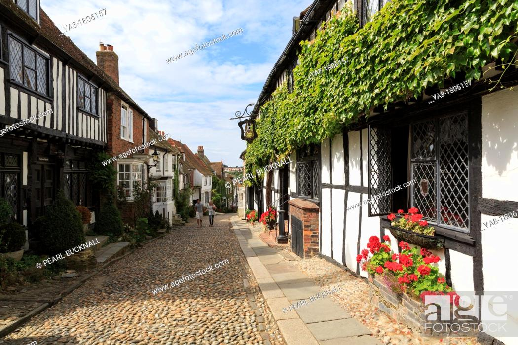 Stock Photo: Mermaid Street, Rye, East Sussex, England, UK, Britain, Europe  The 15th century timbered Mermaid Inn on narrow cobbled street in historic Cinque Port town  One.