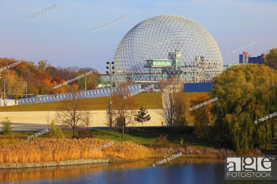 Stock Photo: Canada, Quebec, Montreal, Ile Sainte-Hélène, Parc Jean-Drapeau, Biosphere, geodesic dome, .