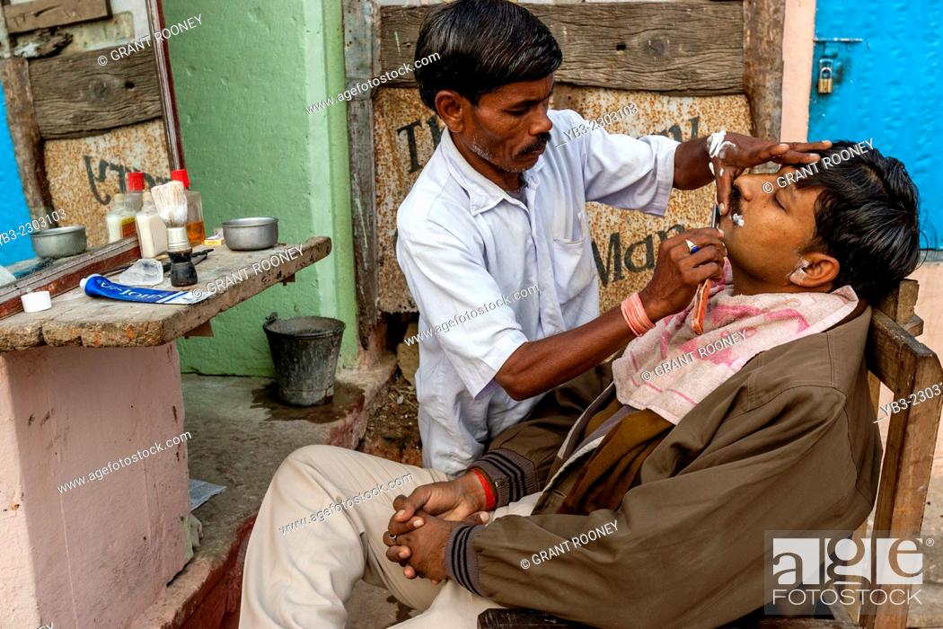 Stock Photo: Barber Shop, Varanasi, Uttar Pradesh, India.