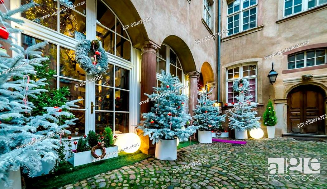 Stock Photo: Outdoor Christmas decoration in Strasbourg, Alsace, France.