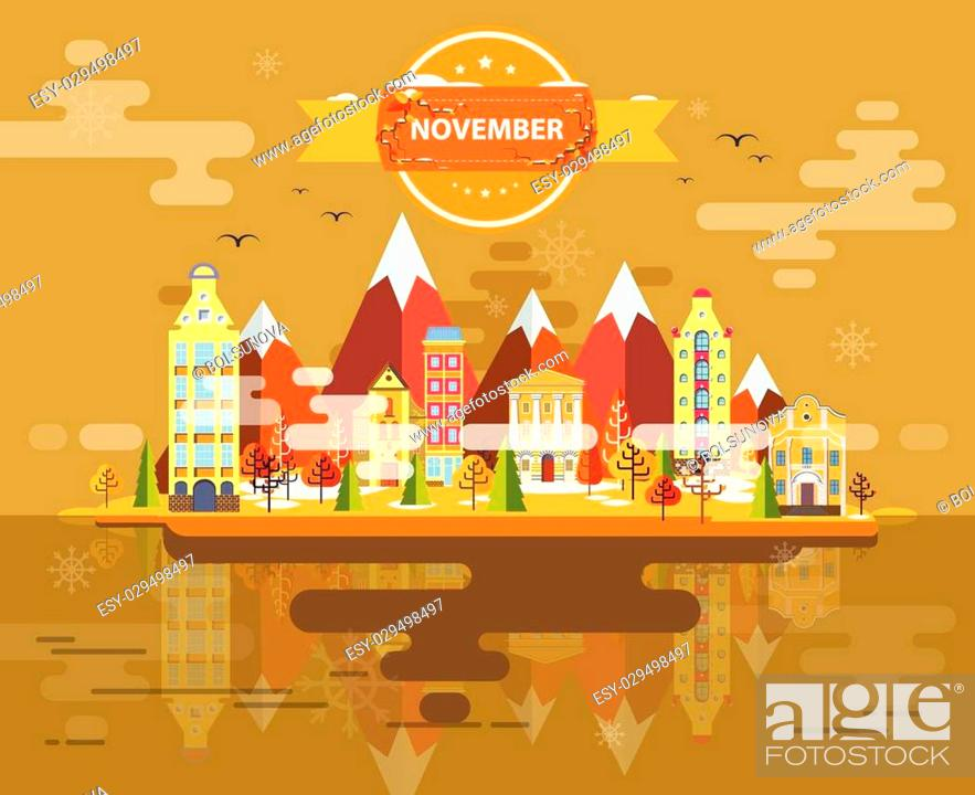 Stock Vector: Autumn landscape. Small town Set 1 Month of November Infographics Calendar Mountain, nature, park, building, Flat design Stock Image Vector.