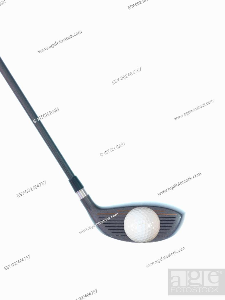 Stock Photo: Golfing equipment on artficial grass outdoors.