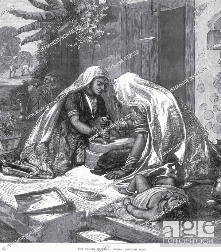 Cool General View The Famine In India Women Grinding Corn Stock Bralicious Painted Fabric Chair Ideas Braliciousco