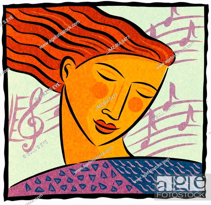 Stock Photo: A woman with her eyes closed and smiling and music behind her head.