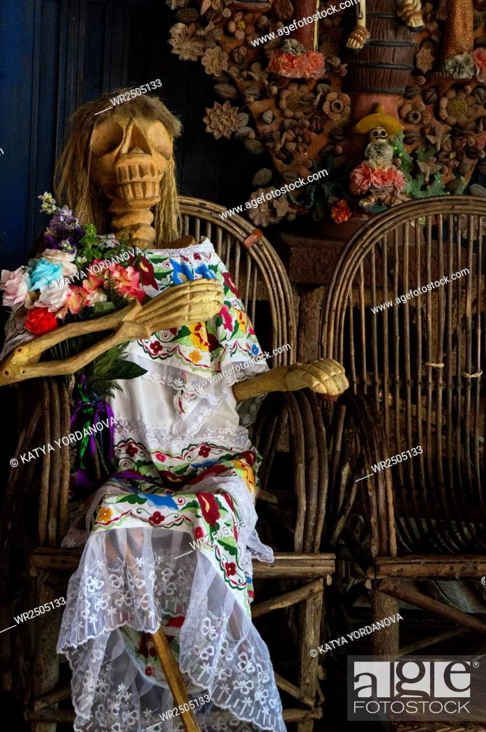 Stock Photo: Day of the dead. Traditional mexican catrina skeleton.