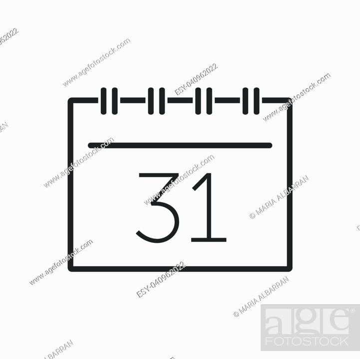 Stock Vector: Calendar line icon on a white background. Vector illustration.