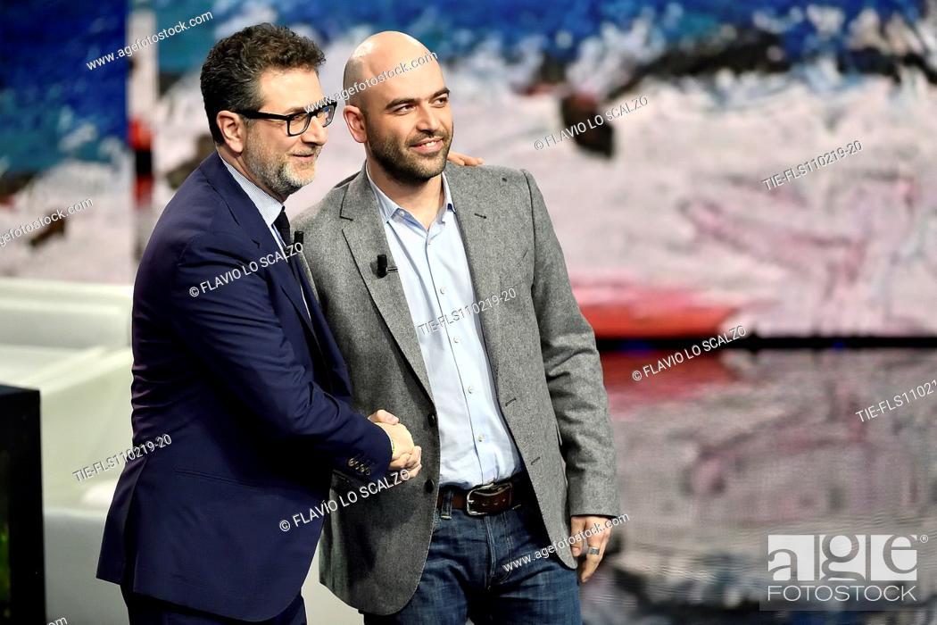 Imagen: Tv presenter Fabio Fazio, Roberto Saviano during the tv show Che tempo che fa, Milan, ITALY-10-02-2019.