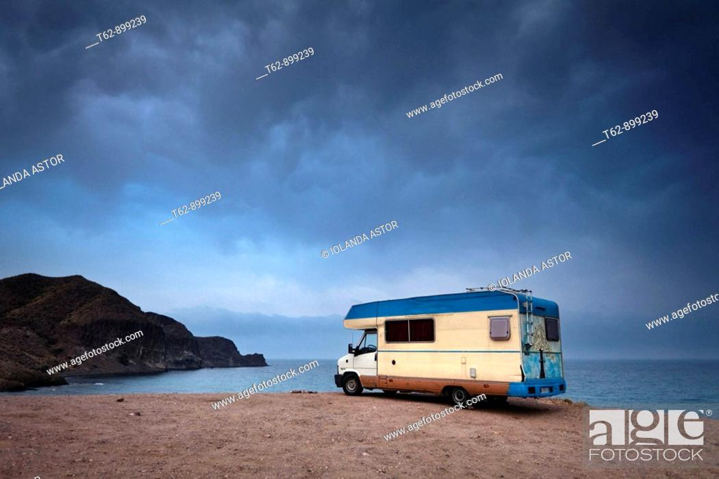 Stock Photo: Vehicle caravan parked next to the cliff  Costa del Cabo de Gata  Isleta del Moro, Almería, Andalusia, Spain.