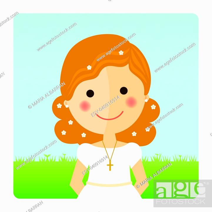 Stock Vector: Girl communion foreground with curly hair on blue sky background.