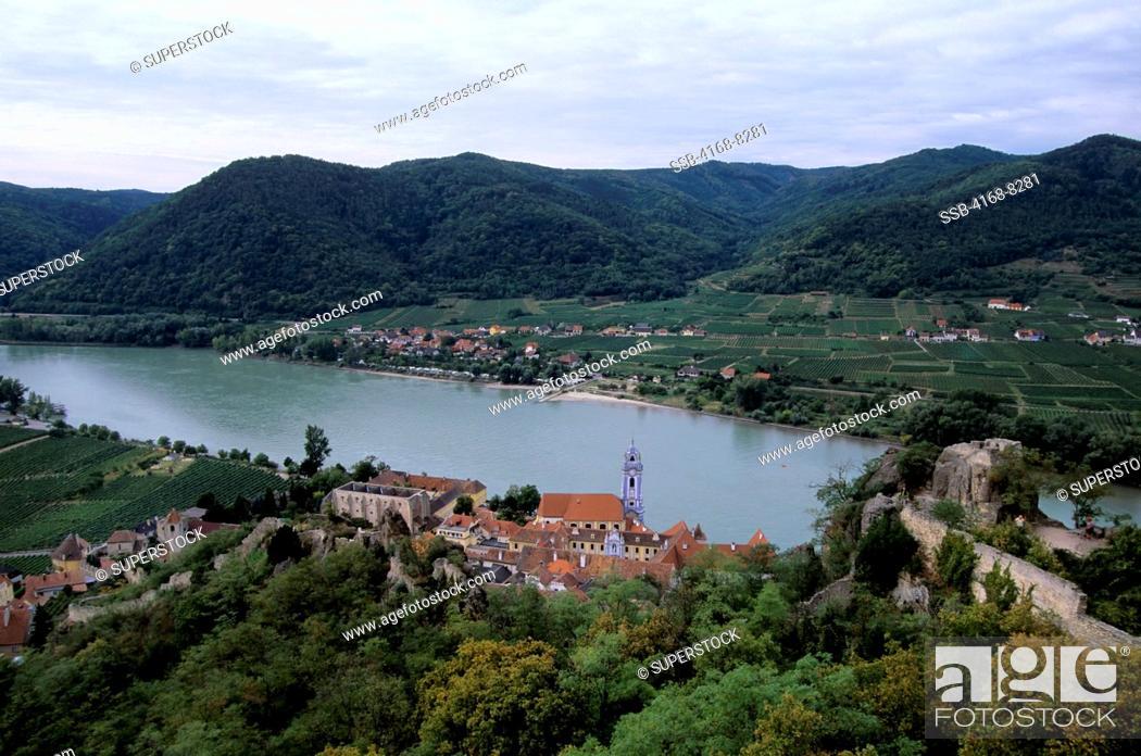 Stock Photo: Austria, Wachau Valley, Durnstein, View of town on Danube River.
