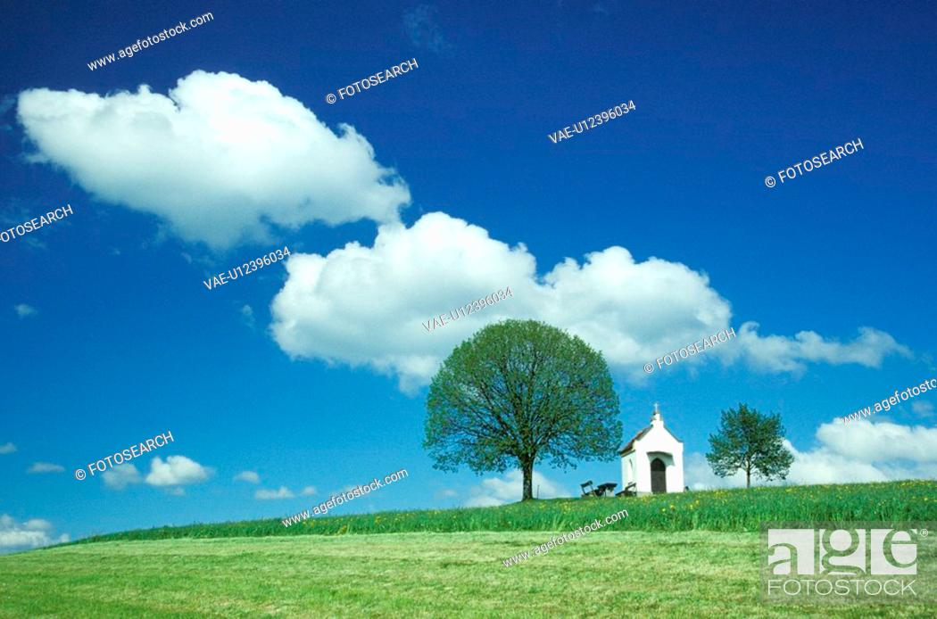 Stock Photo: clouds, blue, cloud, church, chapel, day, architecture.