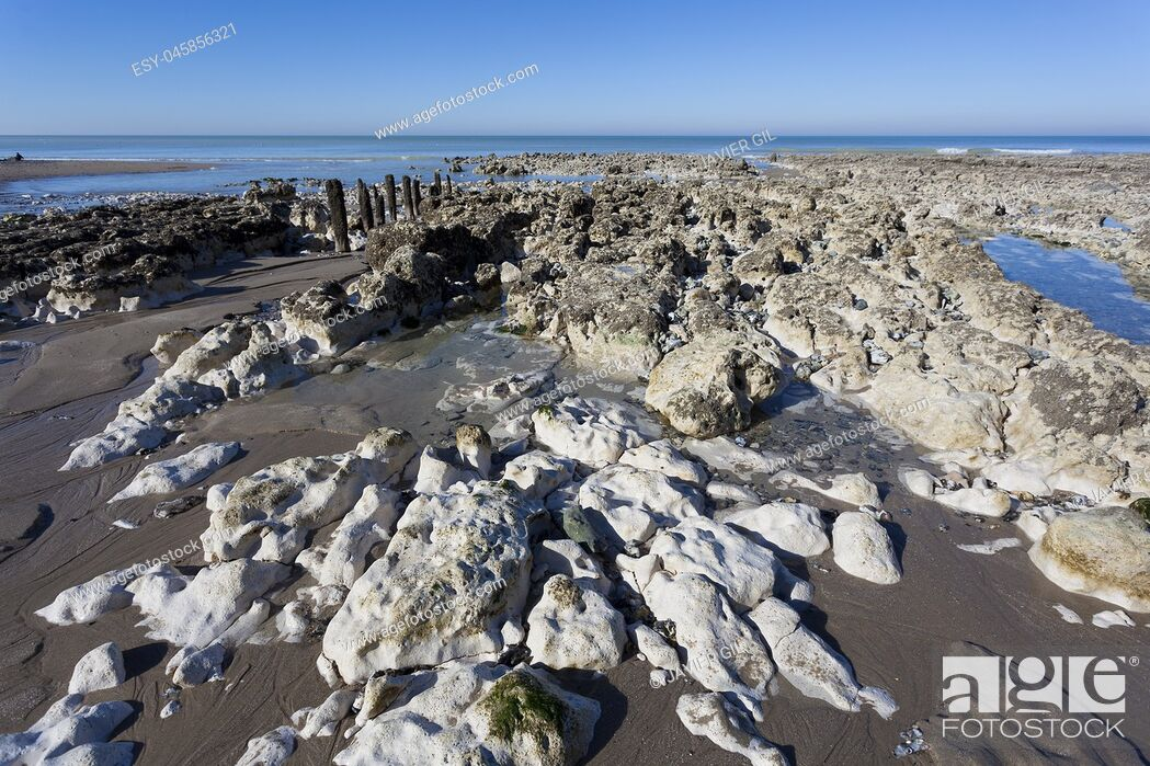 Stock Photo: Beach of Ault, Somme, Hauts-de-France, France.
