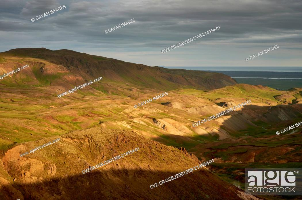 Stock Photo: Majestic scenery of highland in sun rays during sunset.