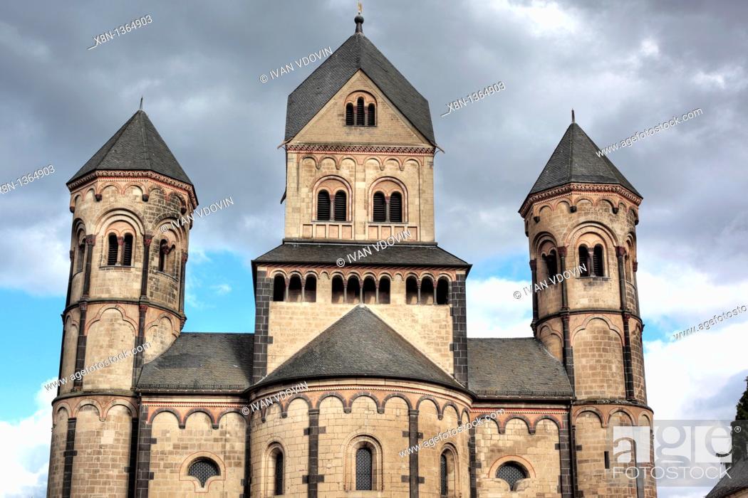 Stock Photo: Maria Laach Abbey 12th century, near Andernach, Rhineland Palatinate, Germany.