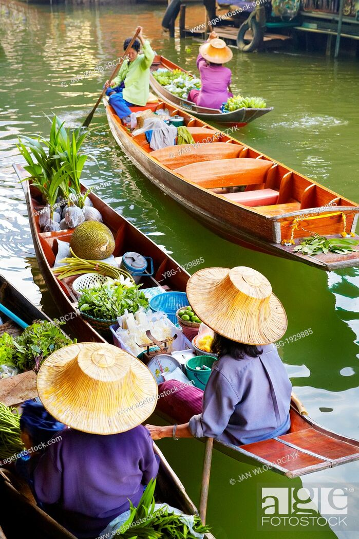 Stock Photo: Thailand Floating Market Damnoen Saduak near Bangkok, Bangkok, Thailand.